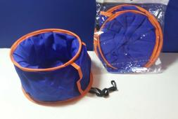 2 COLLAPSIBLE PORTABLE TRAVEL FABRIC DOG CAT WATER FOOD BOWL