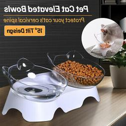 Cat Single/Double Bowls & Raised Stand Clear Pet Bowl Non-sl