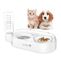 Double Dog Cat Water Food Bowls Automatic Water Dispenser No
