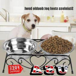 Double Stainless Steel Cat Dog Puppy Pet Water Food Feeder D