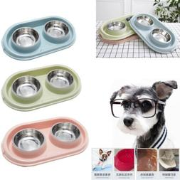 Material Double Dog Pet Bowls Dish Feeder Cat Food Water Iro